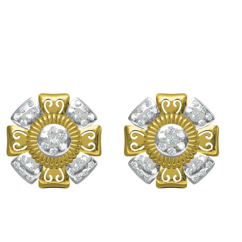 916 cz diamond gold earrings