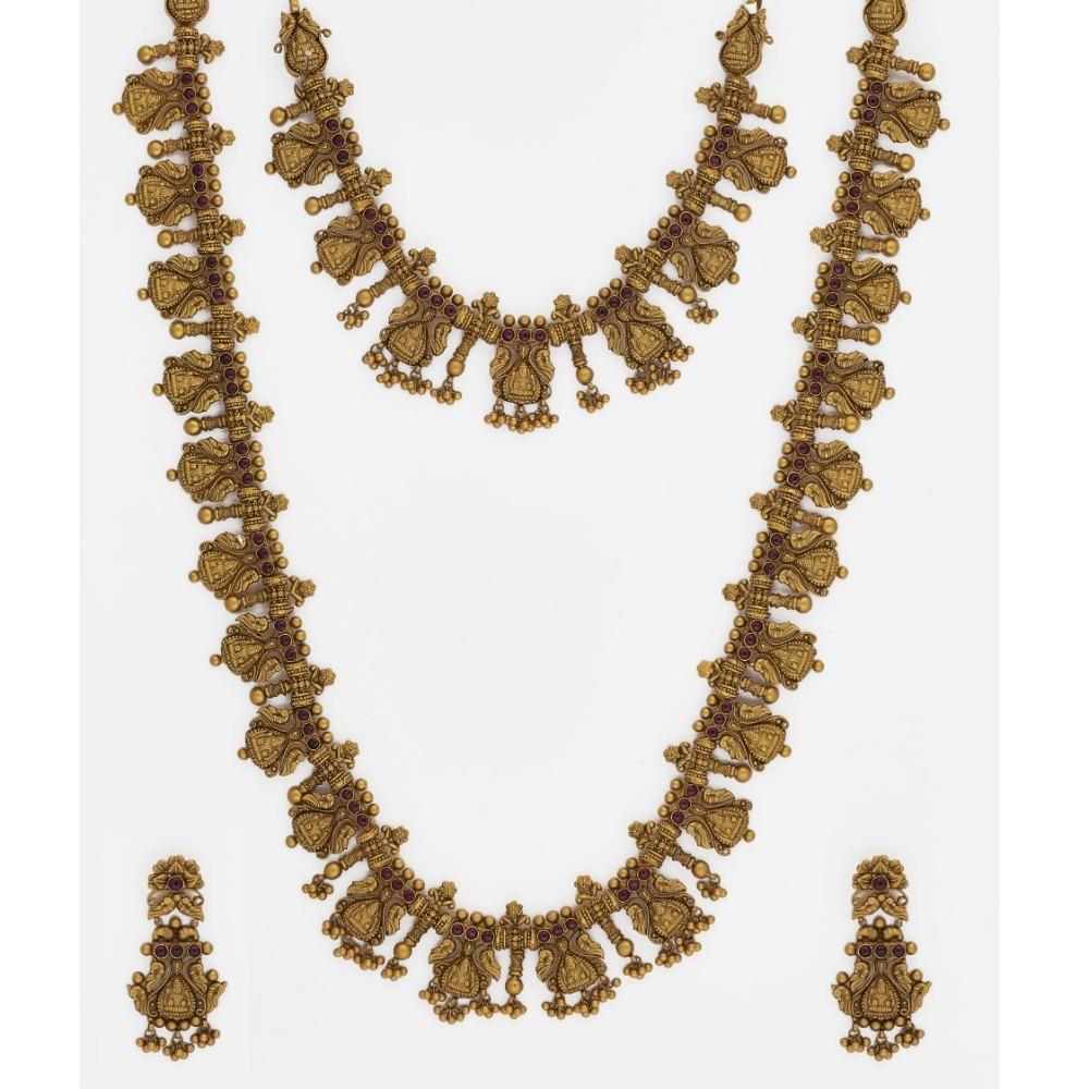 916 Gold Bridal Long Necklace Set SJ-6362