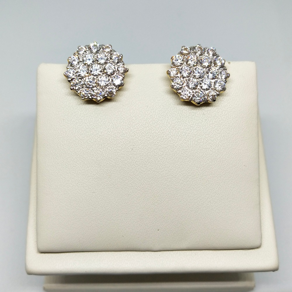 18KT gold round shape diamond earring dj-e005