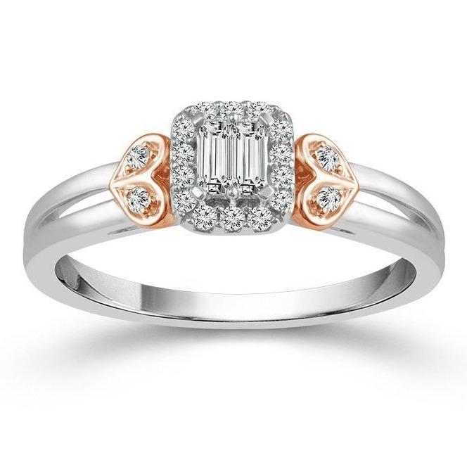 white gold baguette cluster diamond ring