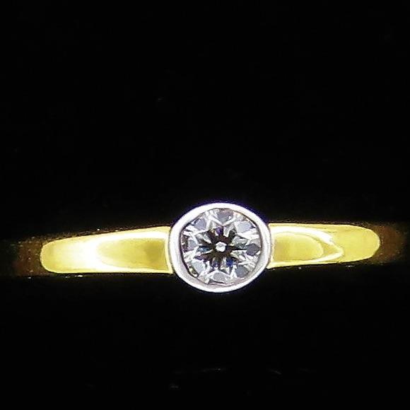 Gold Single Diamond Ring For Women KJ-R13