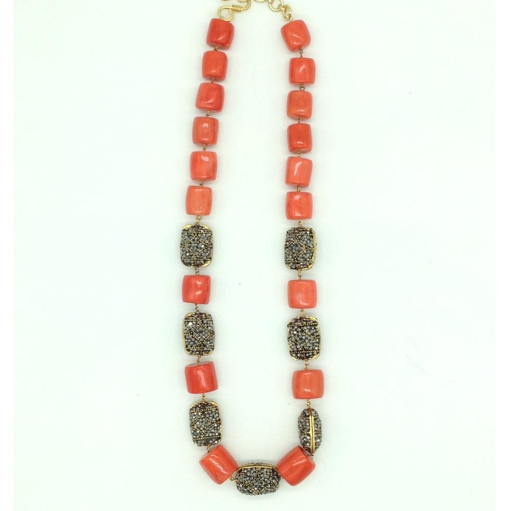 White CZ Balls and Corals Graded Necklace Set JNC0132