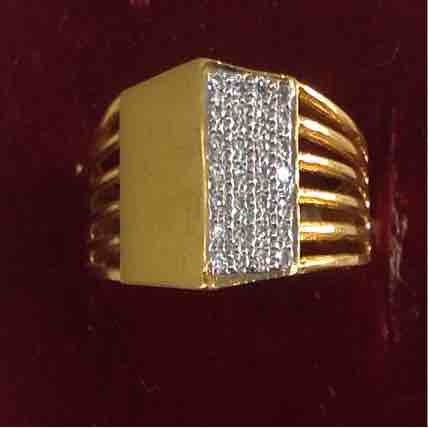 916 Hallmarked plain gold wedding diamond ring