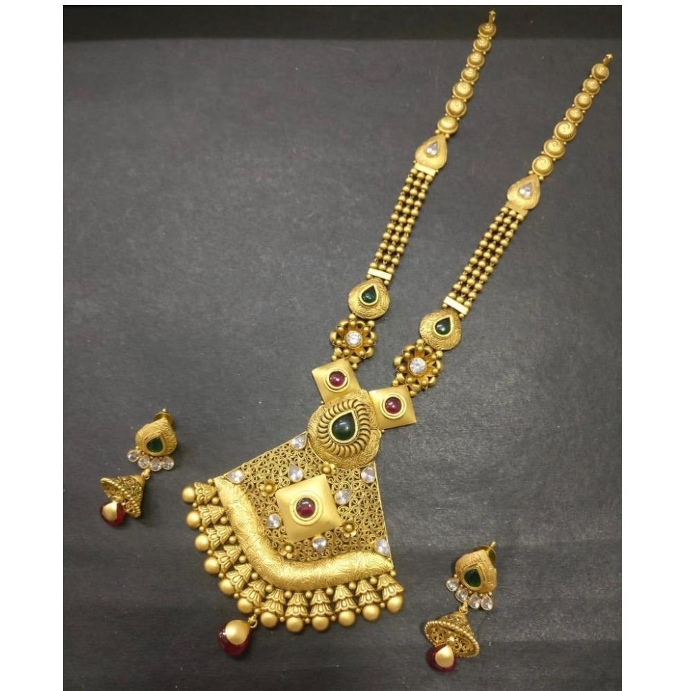 22kt 916 Antique Gold Indian Bridal Long Necklace Set KG-N006