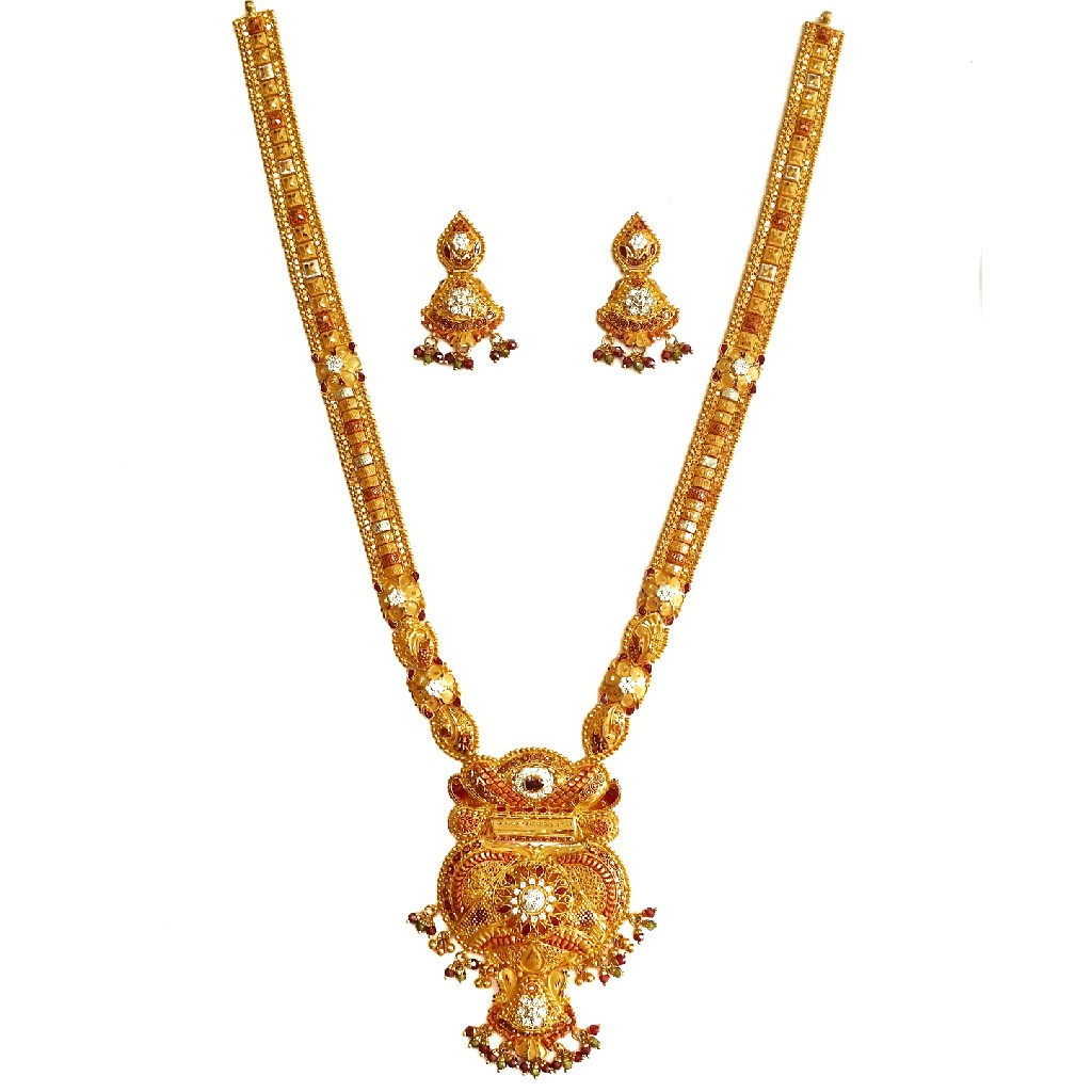 916 Gold CZ Diamond Minakari Necklace With Earrings MGA - GLS082