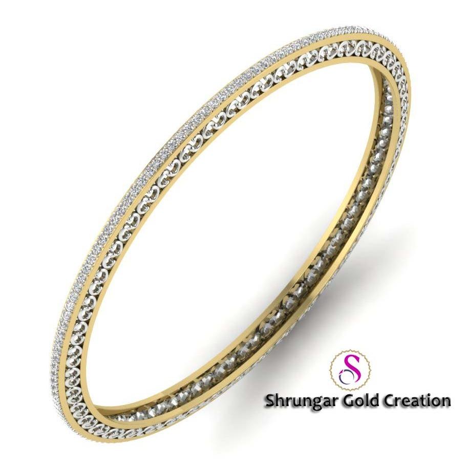 916 Gold Attractive Diamond CZ Bangles
