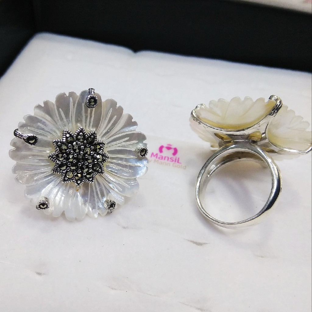 92.5 sterling silver marka stone pearl flower ladies ring ml-60