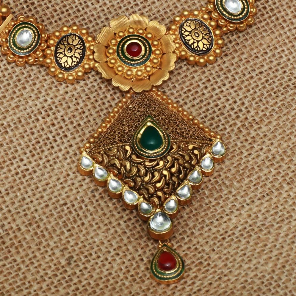 916 Gold Antique Bridal Necklace Set PJ-N005