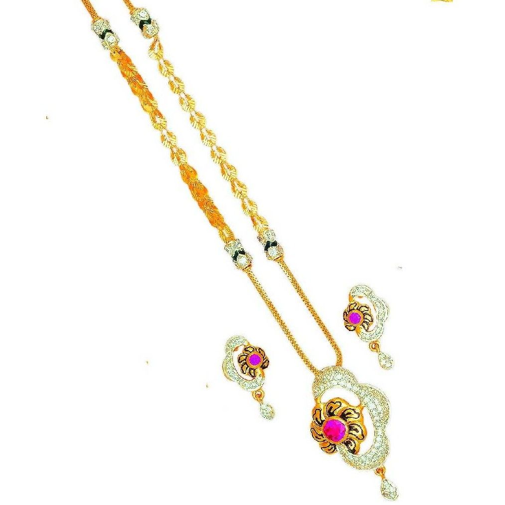 916 Gold Flower Shaped Dokiya With Fancy Chain