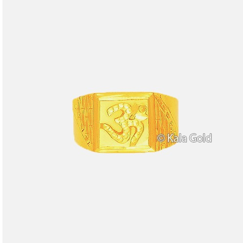 916 Gold Om Design CZ Gents Ring
