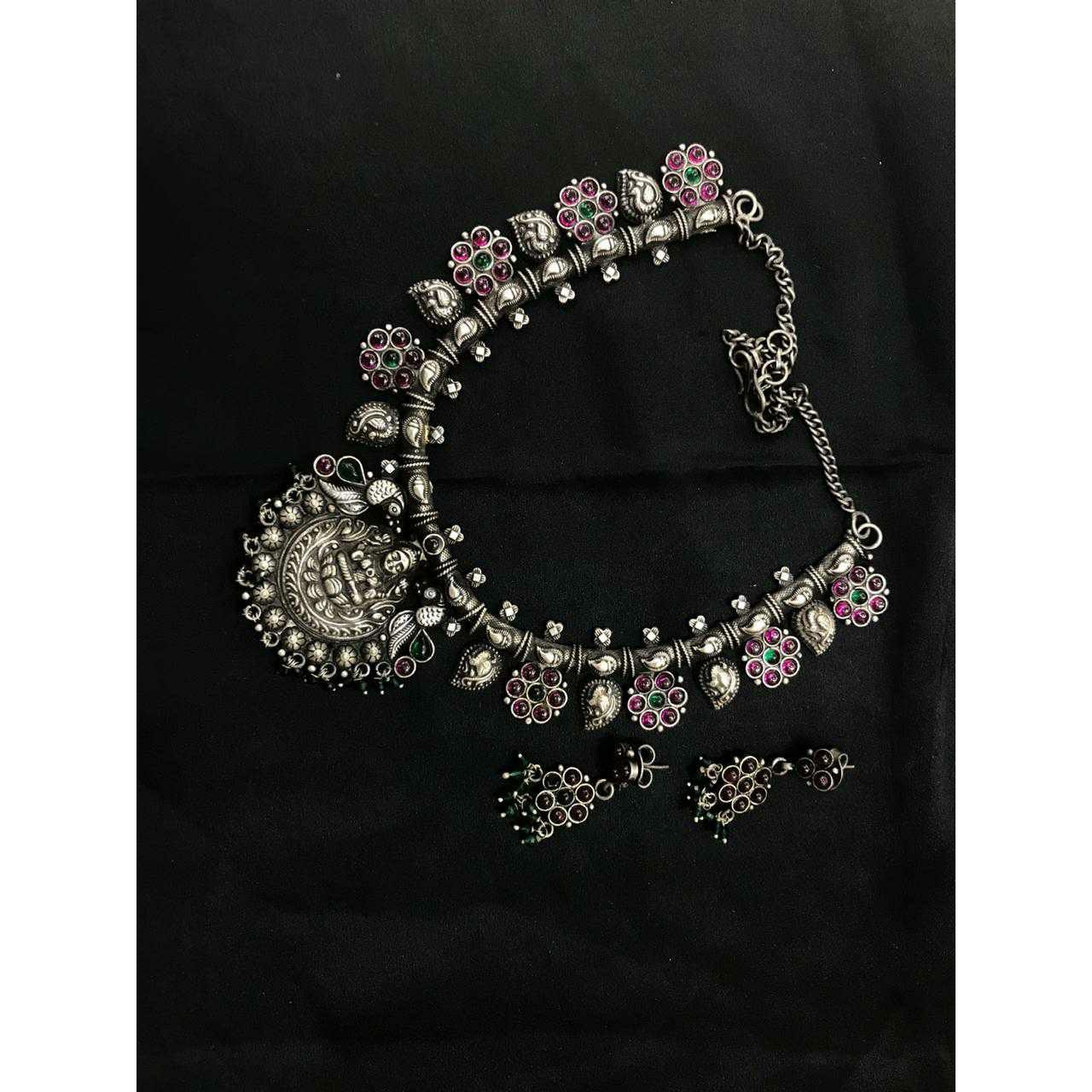 92.5 Sterling Silver Colorfull Mina Oxodize Karap Chain Lock Necklace Set Ms-3954