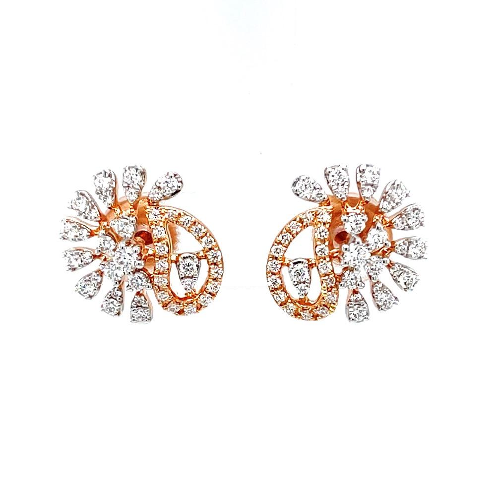Asymmetrical diamond stud in 18k rose gold