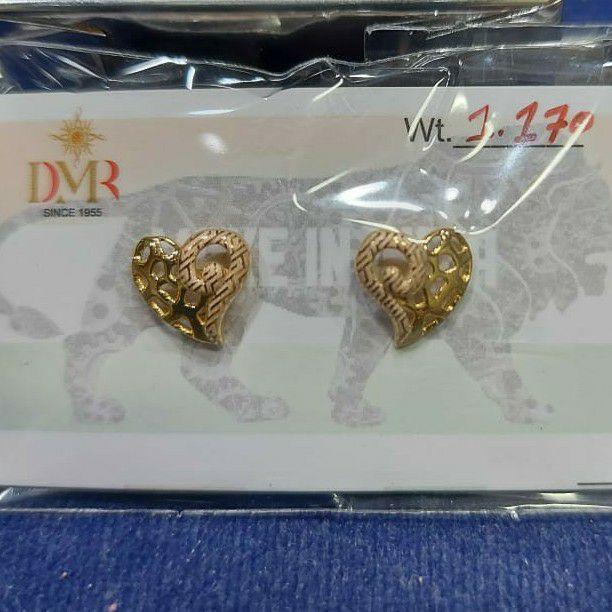 18ct fancy plain heart laser earrings