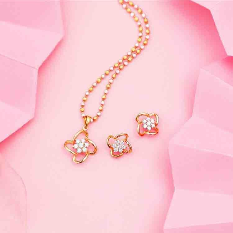 18KT Rose Gold Star Shaped Designer Diamond Pendant Set