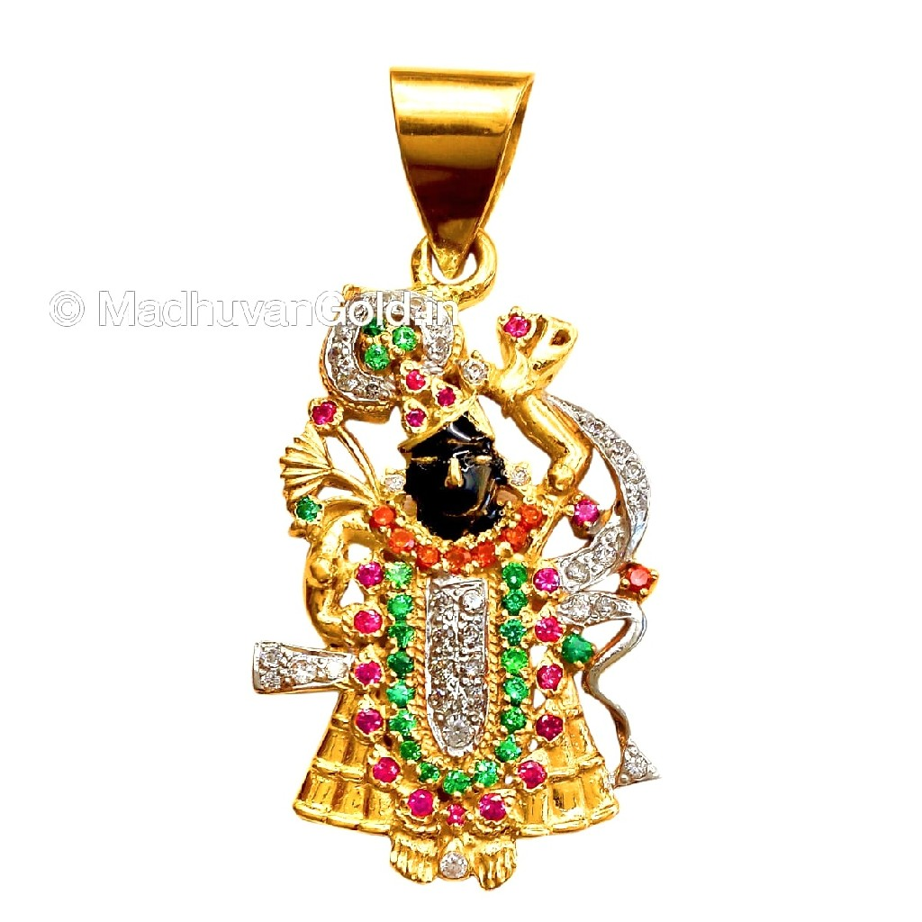 916 Gold CZ Diamond Shreenathaji Pendant MGA - GP011