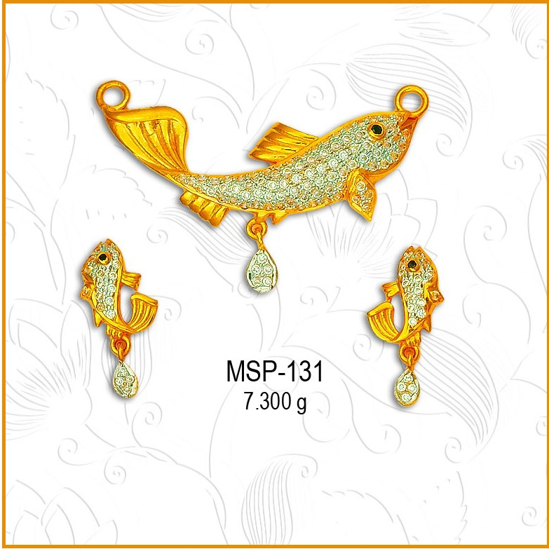 916 Gold Fish Design CZ Mangalsutra Pendant Set MSP-131
