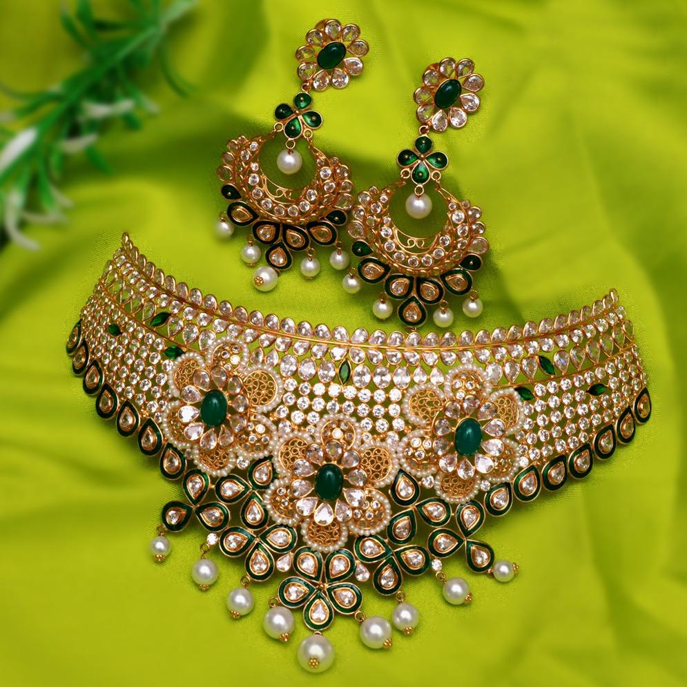 916 Gold Designer Choker Set For Wedding PJ-N007