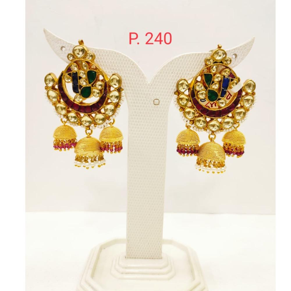 Ruby & Emerald stone kundan work Earring With hanging Jhumka 1718