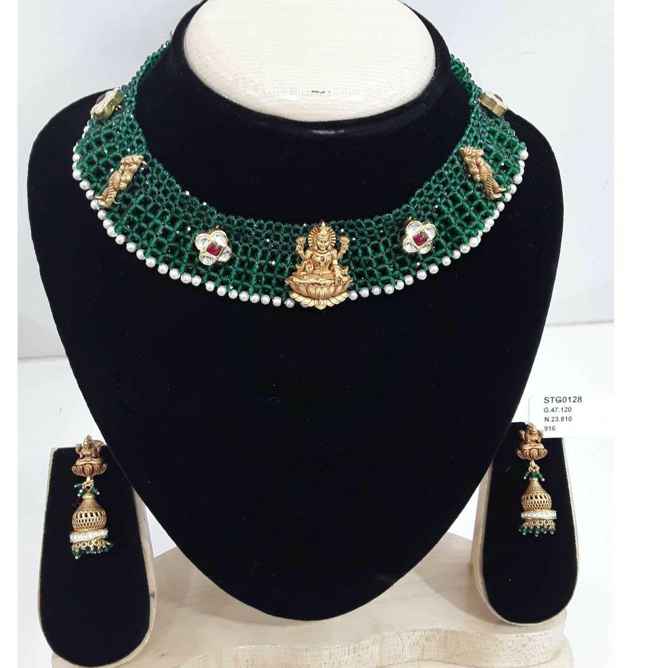 916 Antique Green Mani Moti Short Set