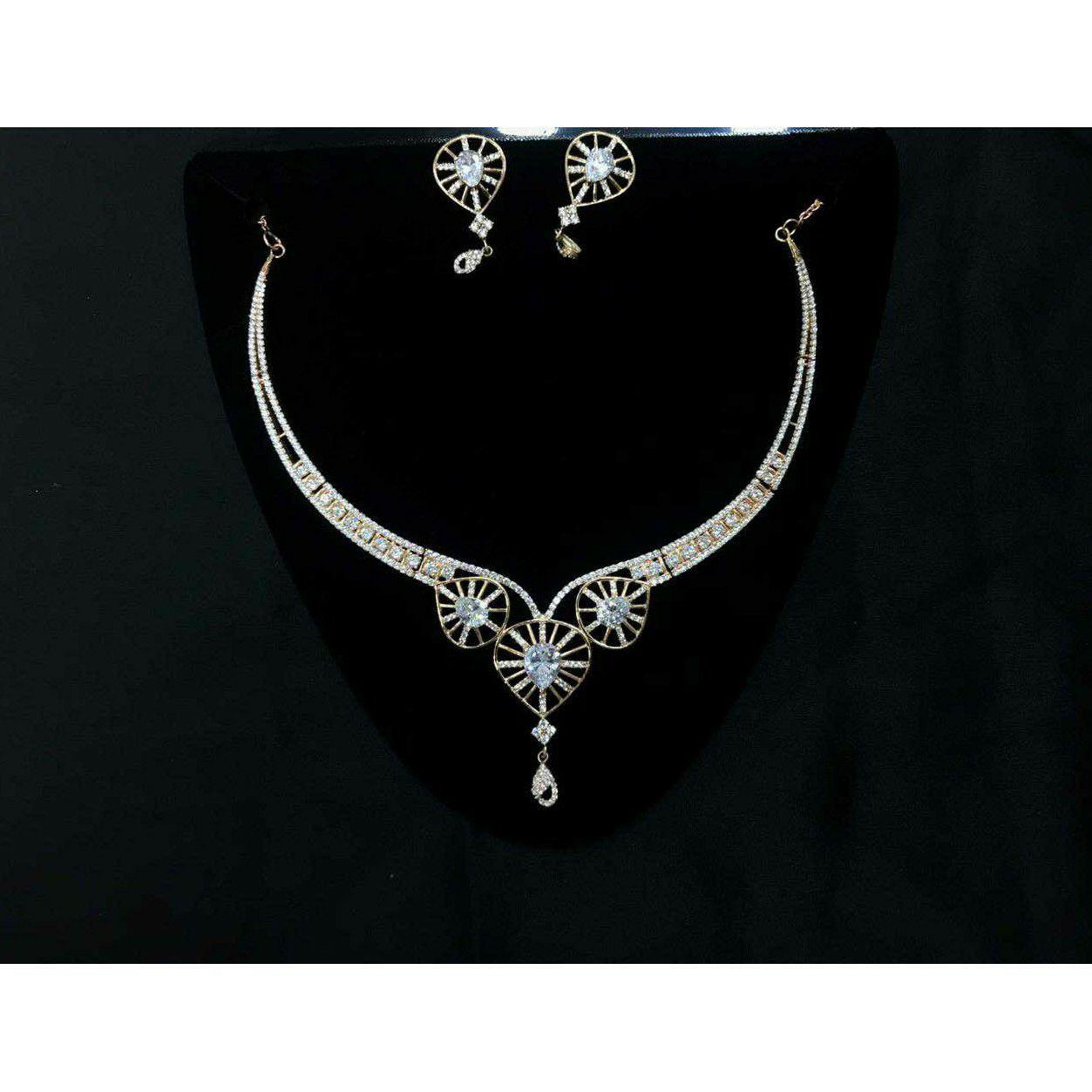 92.5 Sterling Silver Heart Shape Necklace Set Ms-3935