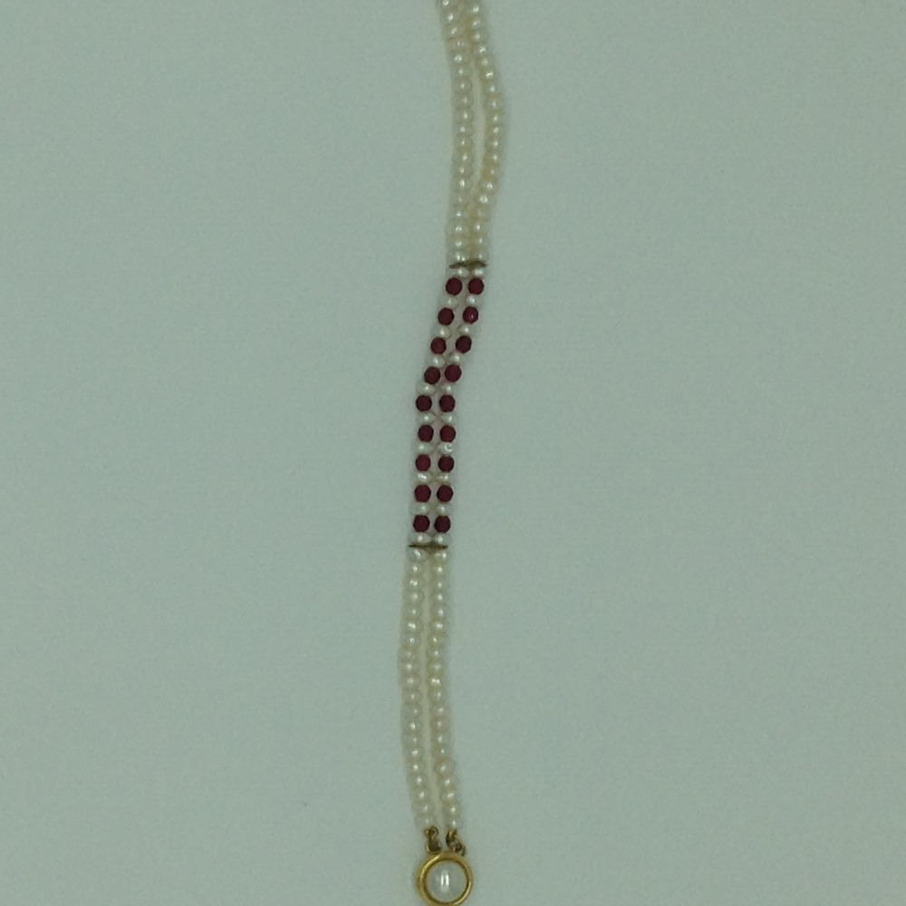 White Flat Pearls With Red Semi Beeds 2Layers BraceletJBG0201