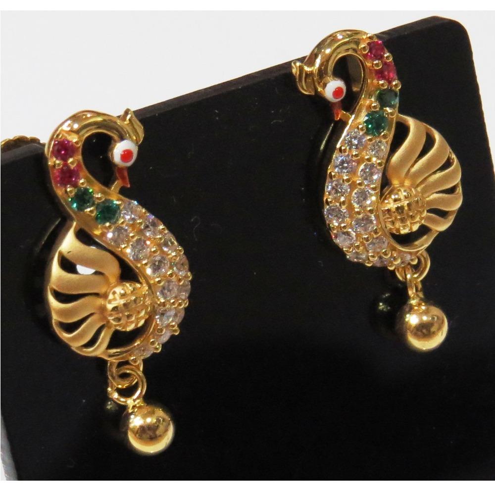 22kt gold cz peacock design earring s-1