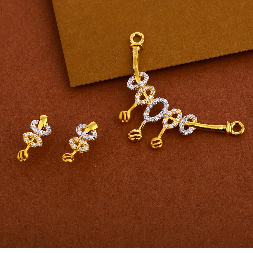 22KT Gold CZ Fancy Mangalsutra Pendant Set MP260