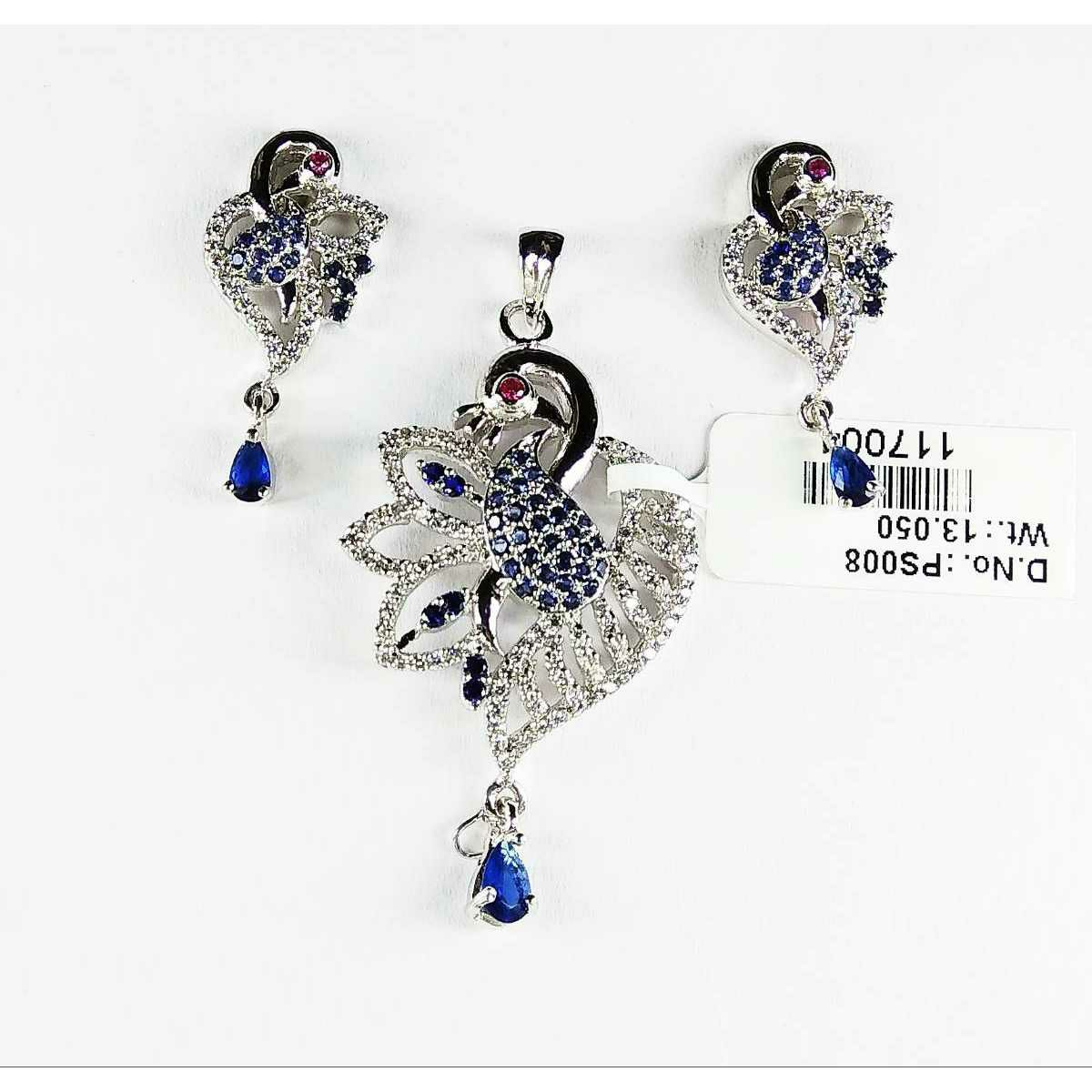 925 Sterling Silver Peacock Shaped Pendant Set