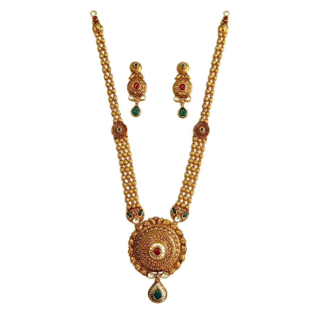 22k Gold Antique Round Shaped Necklace Set MGA - GLS078