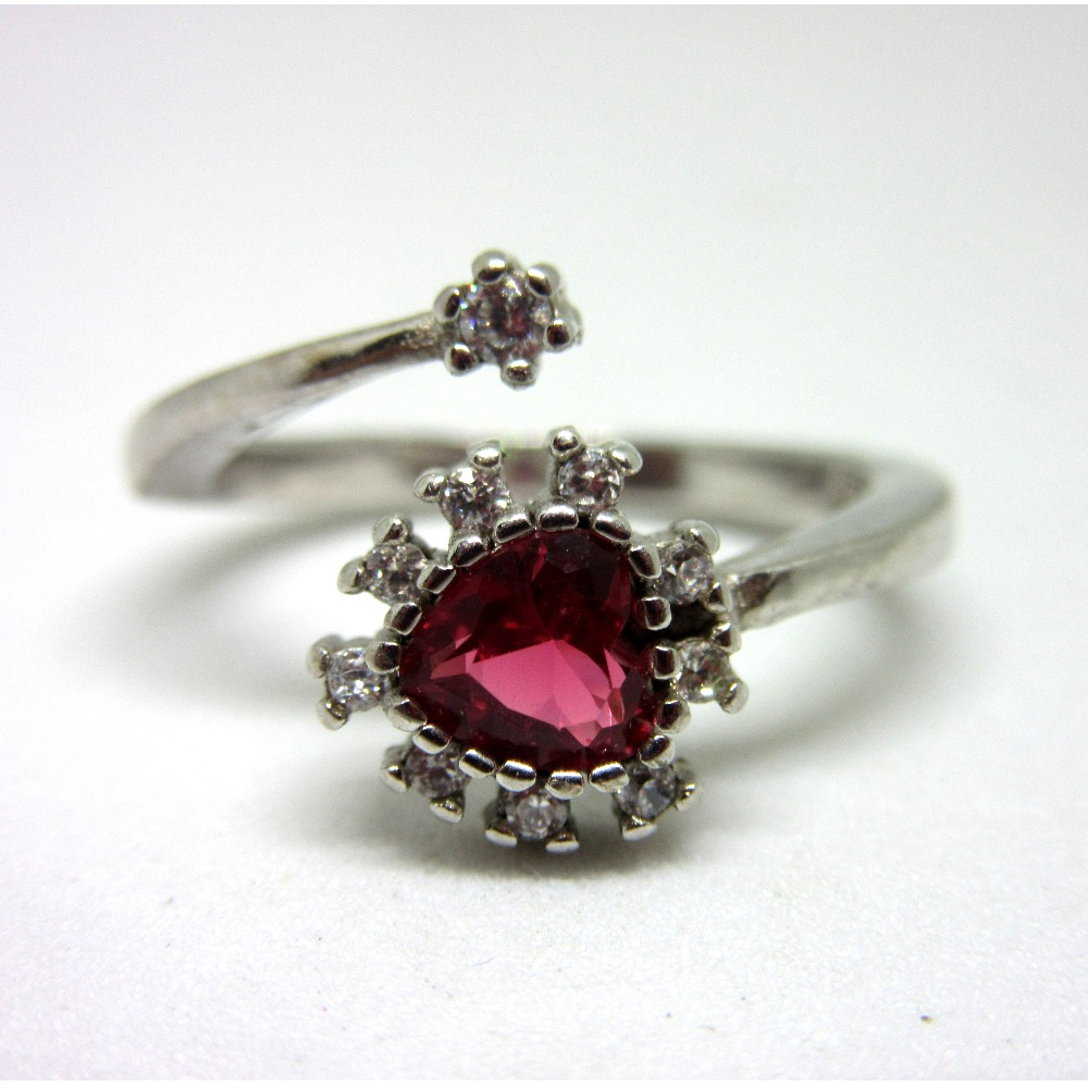 Silver 925 adjustable pink stone ring sr925-255