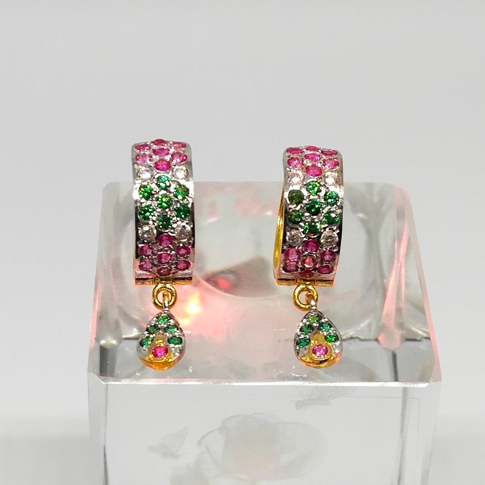 18KT gold fancy colorful earring dj-e011