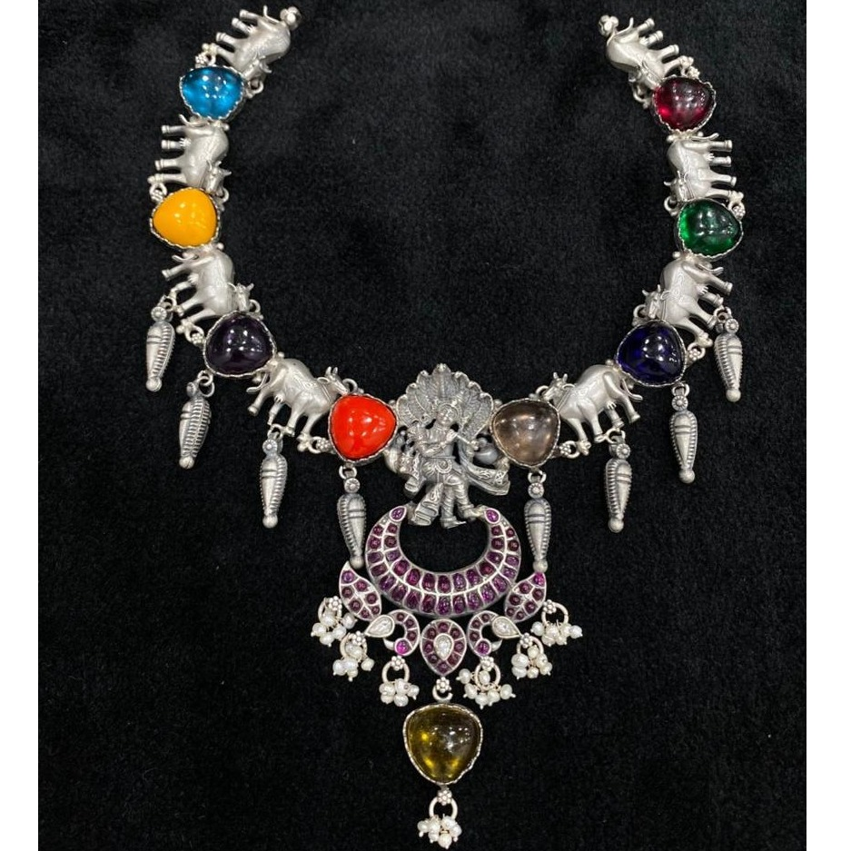 Handicraft pure silver temple haram of goddess vishnu by puran