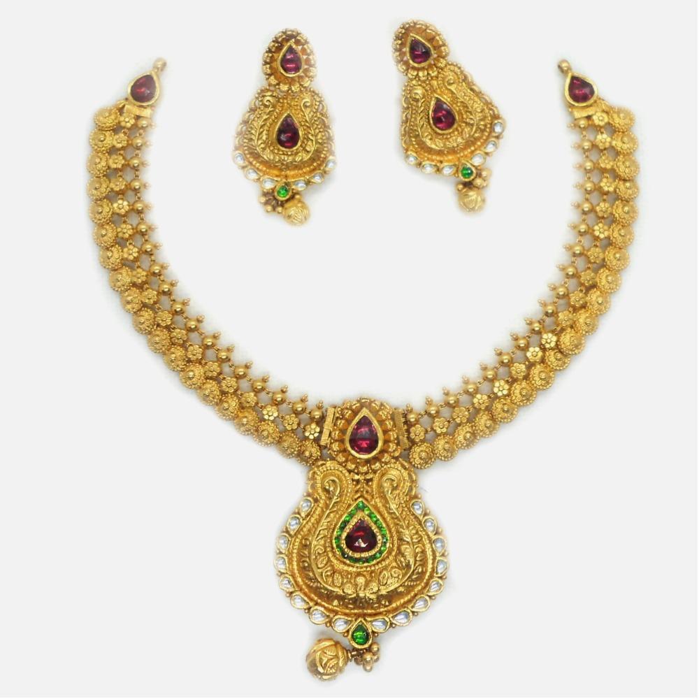 916 Gold Antique Bridal Necklace Set RHJ-6032