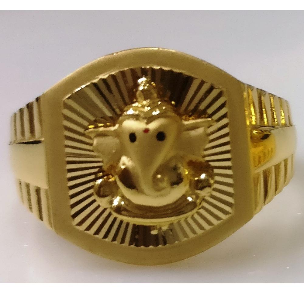 22kt gold plain casting lord ganesha gents ring