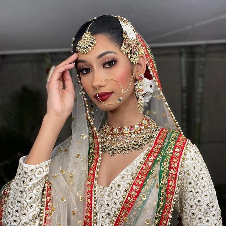gold plated pachhi kundan red & green hanging nackless