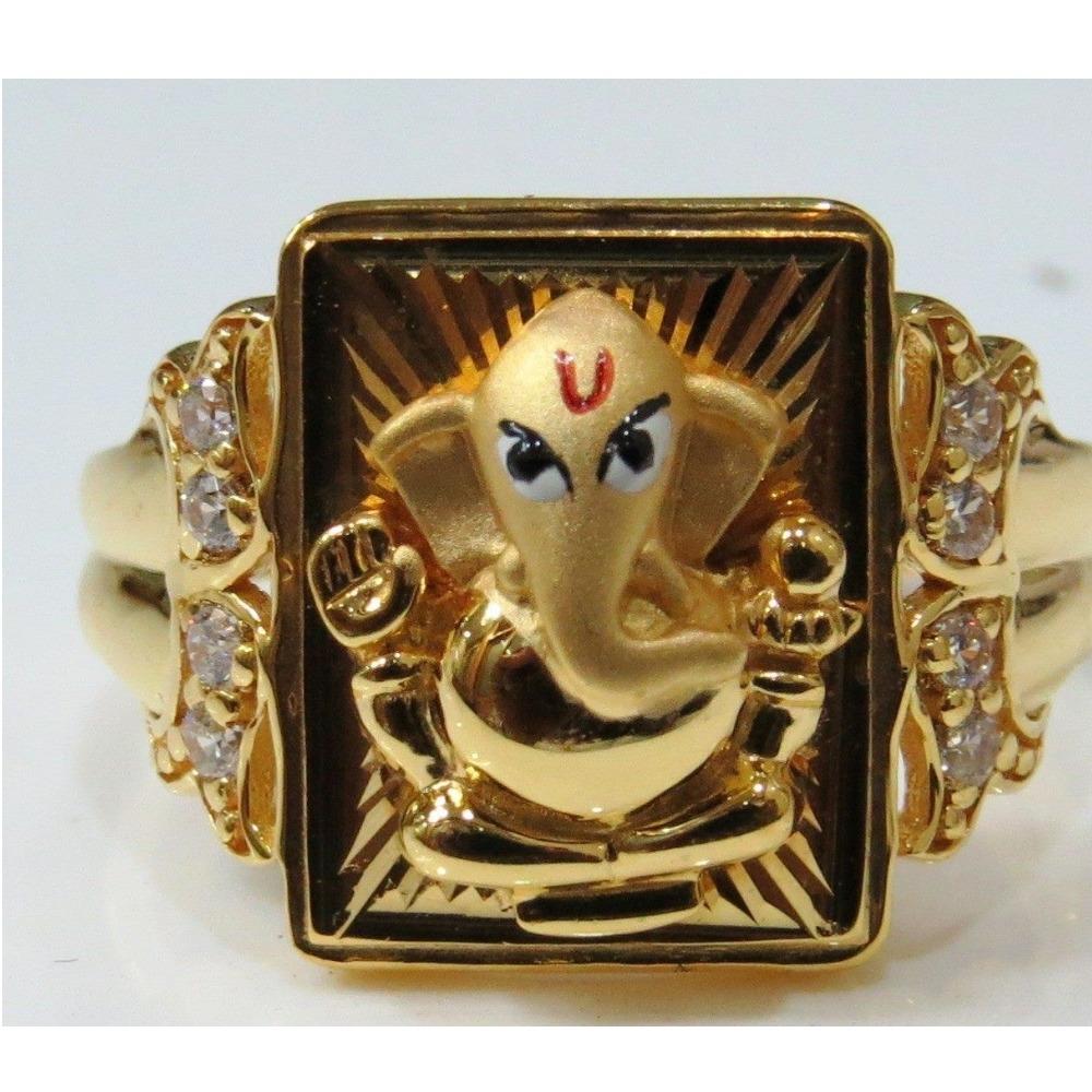916 Gold Ganesh Design Ring For Men RH-R001