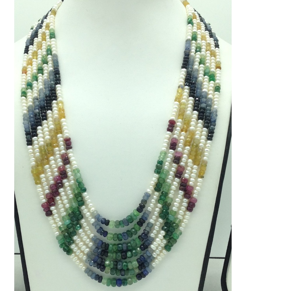 White FlatPearls with Multicolour Stones 7Layers Necklace JPM0427