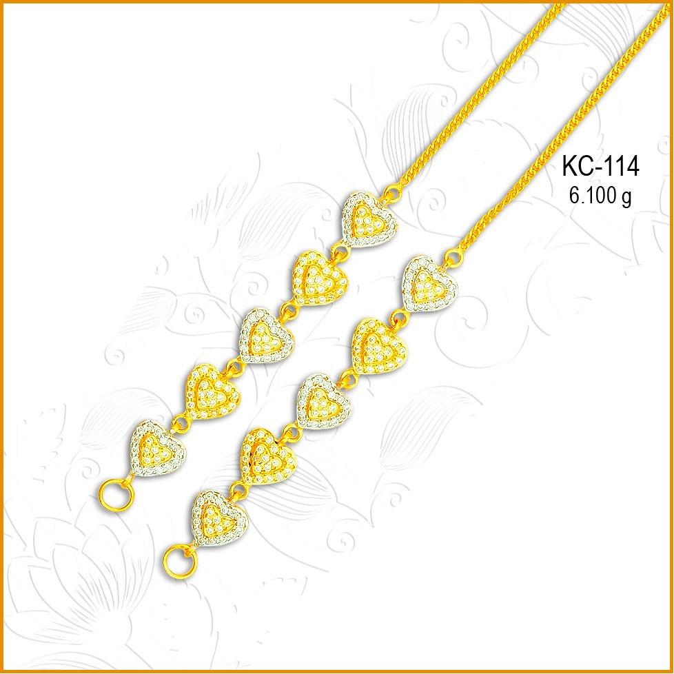 916 CZ Gold Fancy Heart Shape Earchain KC-114