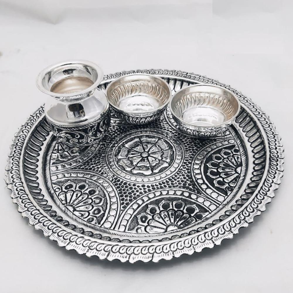 925 Pure Silver Antique Pooja Thali Set PO-263-27