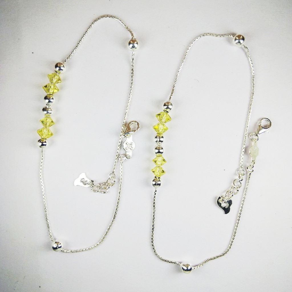 925 Silver Payal With Yellow Stones