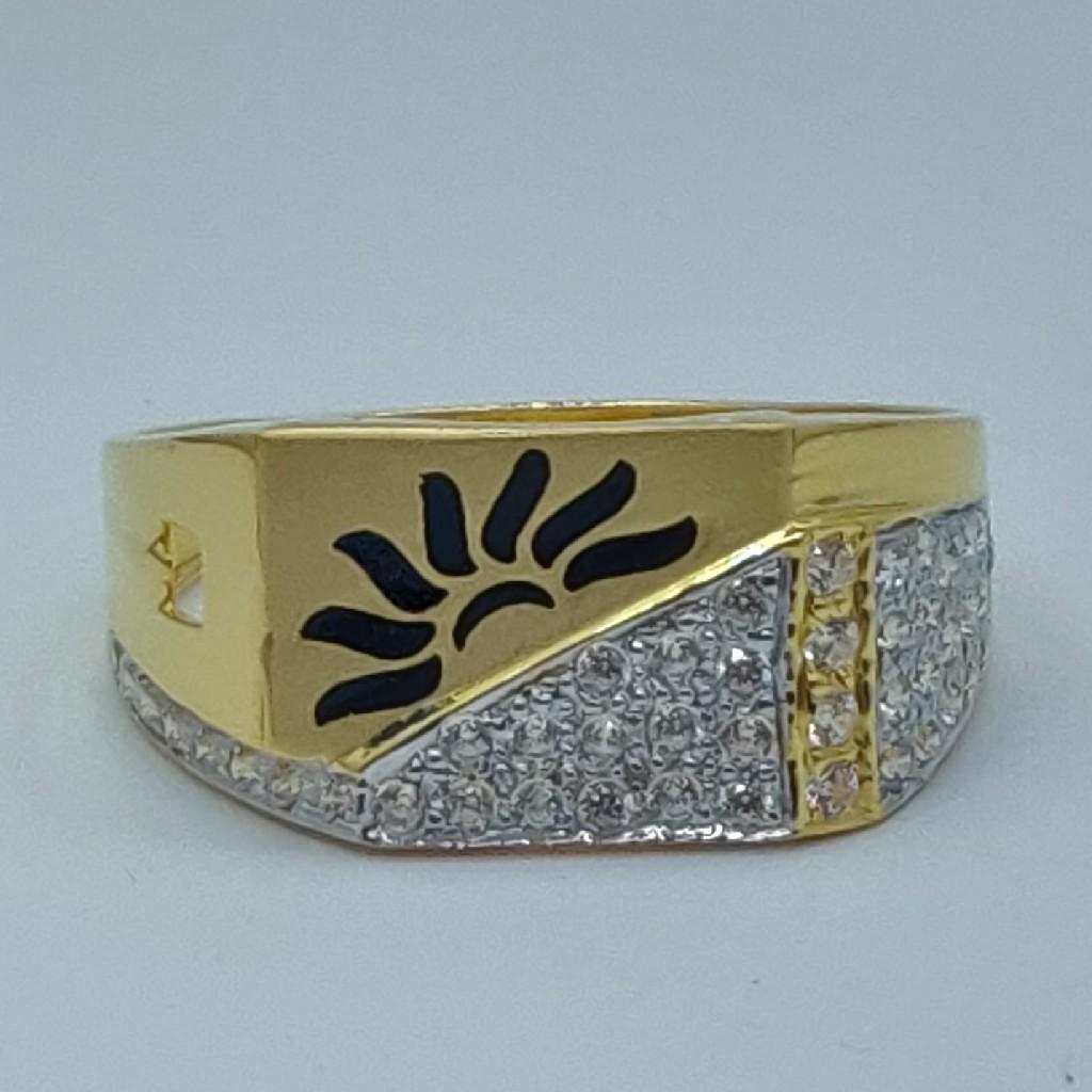22k cz fancy gold gents ring