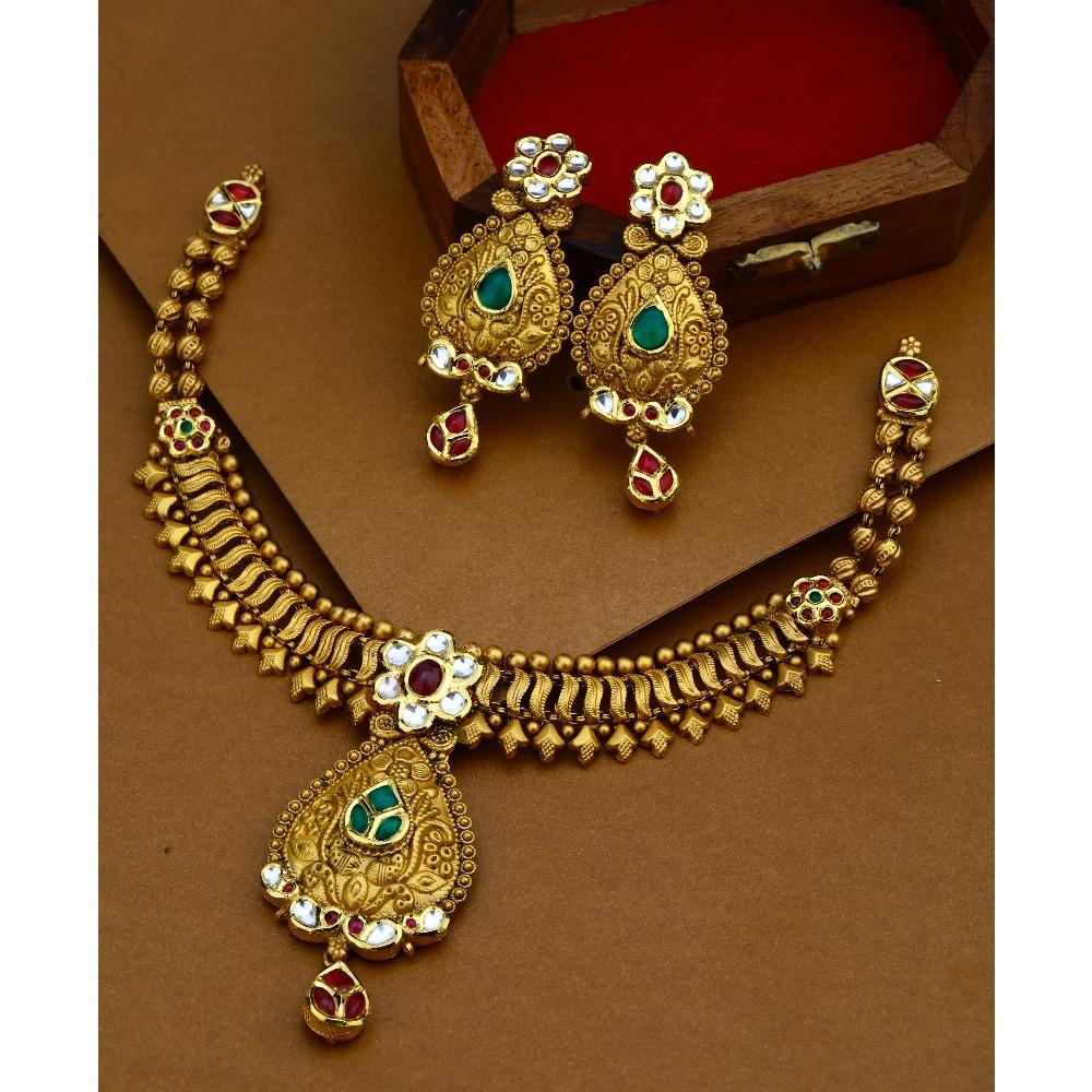916 Gold Antique Royal Necklace Set For Wedding