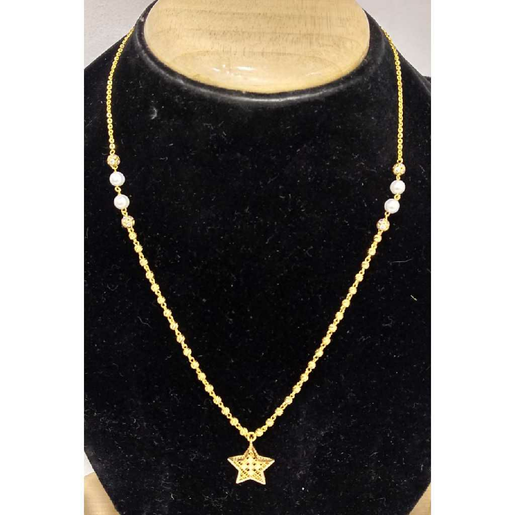 916 Gold Vertical Mala With Star Shaped Pendant