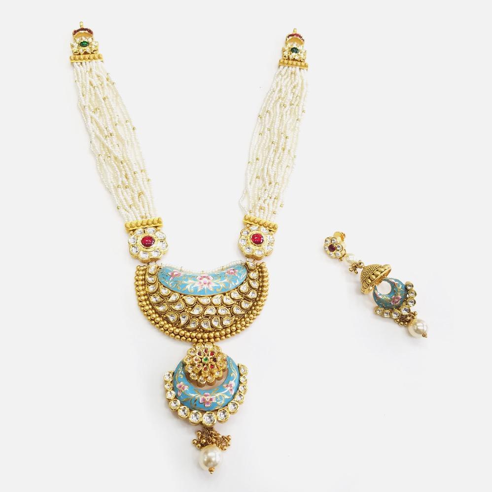 916 Gold Antique Bridal Long Necklace Set RHJ - N002