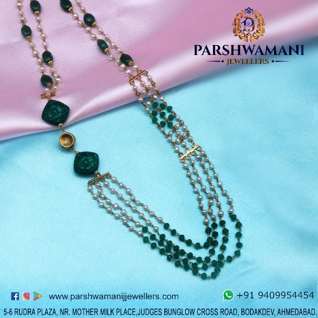 22Kt Gold Green & White Pearl Four Line Mala For Women