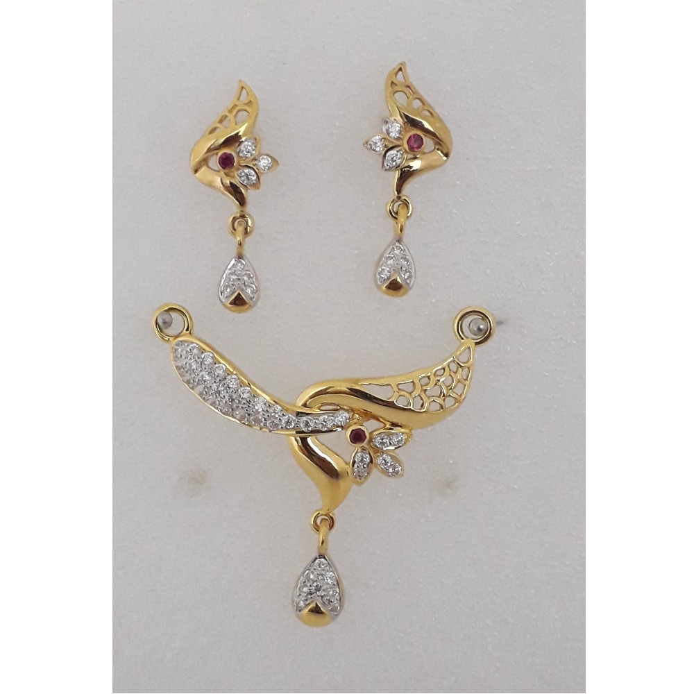 916 Gold CZ Fancy Mangalsutra Pendant Set MJ-PS001
