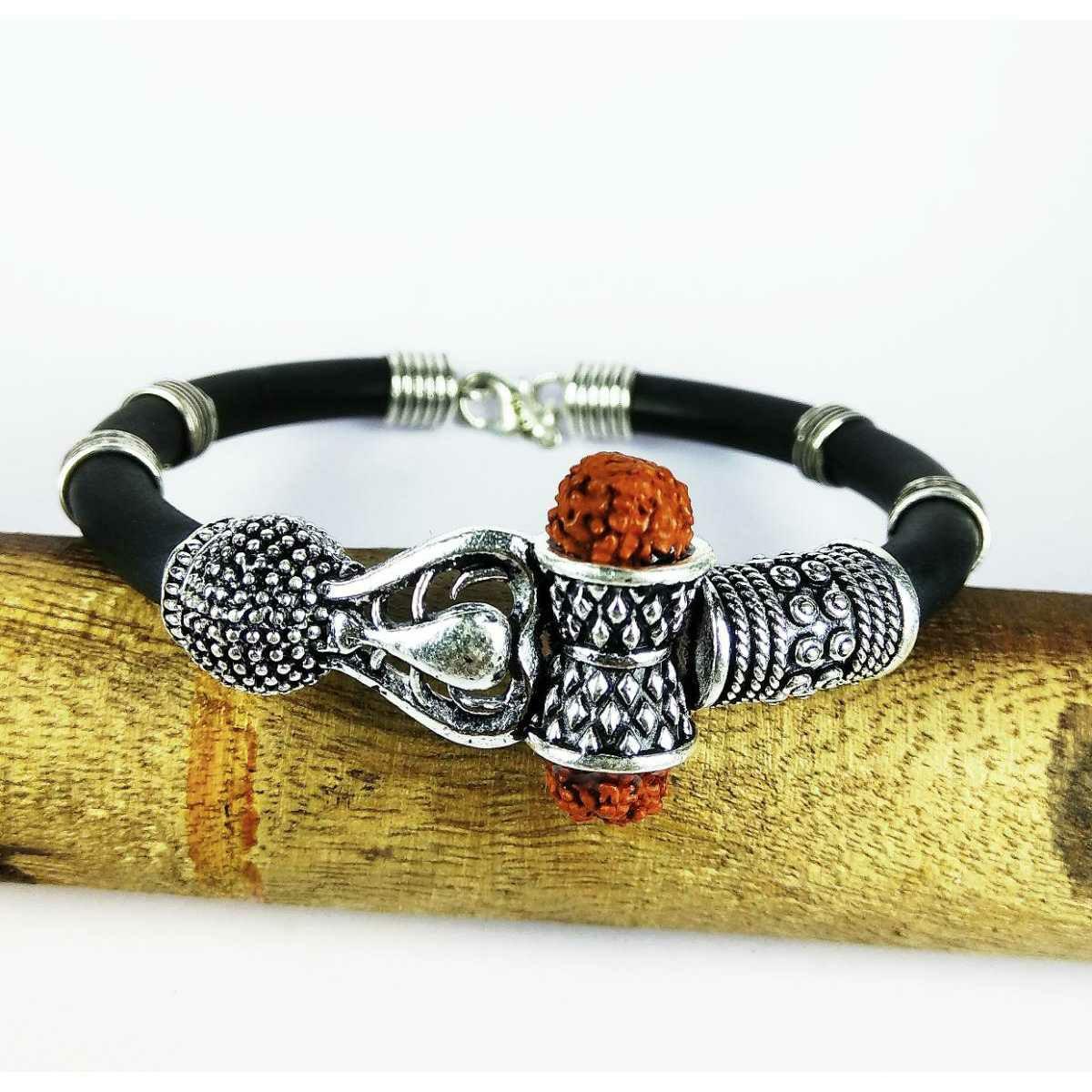 Expensive 925 Silver Black Leather Bahubali Gents Bracelet