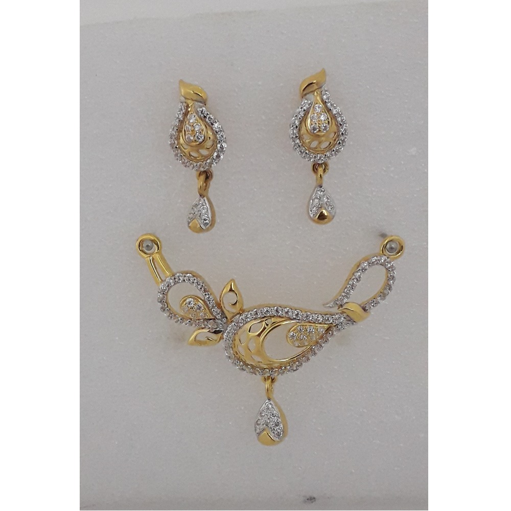 916 Gold CZ Classic Mangalsutra Pendant Set MJ-PS003