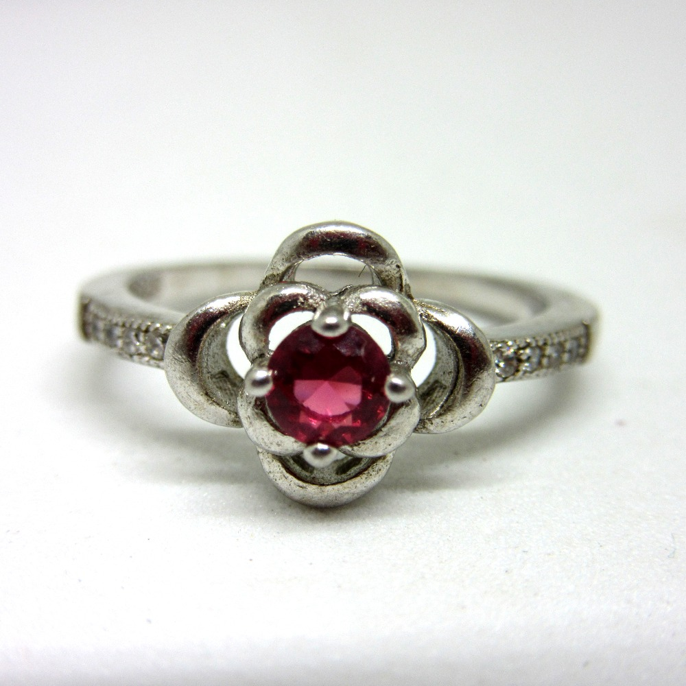 Silver 925 pink stone classic ring sr925-121