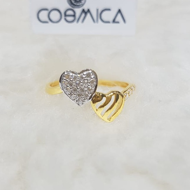 916 Gold CZ Heart Design Ring GC-R01